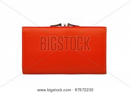Woman Red Purse (wallet) Isolated On White