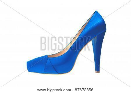 Blue High Heeled Shoe Isolated On White