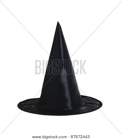 Black Halloween Witch Hat Isolated On White