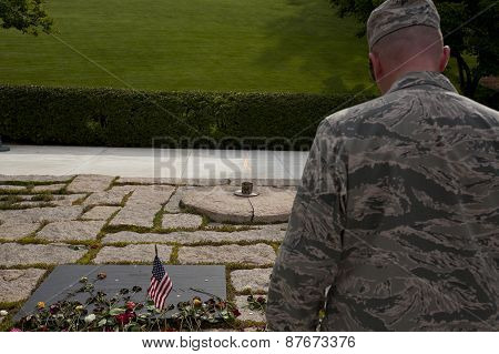 Unknown Soldier In Front Of John F. Kennedy Memorial At Arlington National Cemetery