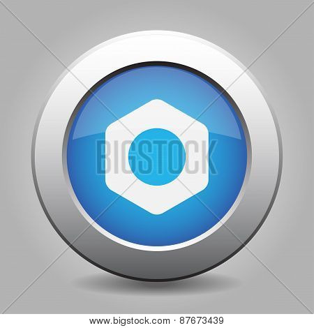 Blue Metal Button With Nut