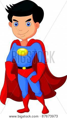Cartoon Super hero boy posing