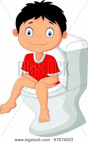 Little boy cartoon sitting on the toilet