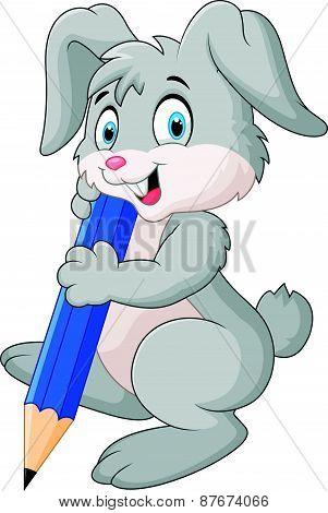 Happy rabbit cartoon holding pencil