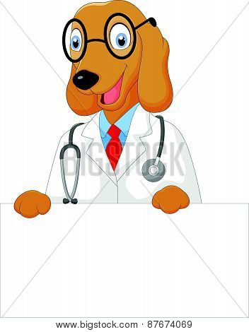 Cartoon doctor dog holding blank sign