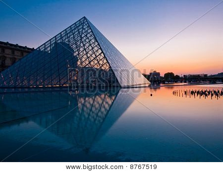 PARIS - APRIL 16: Silhouette of Louvre pyramid at Evening during the Egyptian Antiquities Exhibition