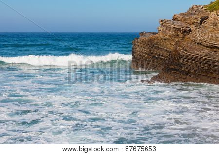 Rocky Coast Of The Atlantic Ocean In Portugal