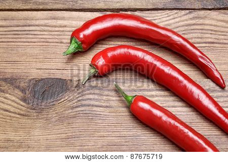 Three Fresh Red Hot Chili Peppers