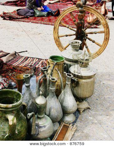 Spinning-Wheel, Samovars And Jugs