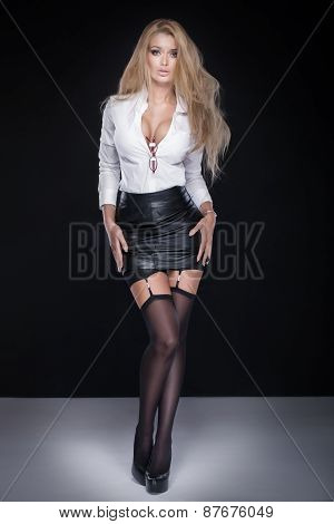 Elegant Blonde Woman Posing.