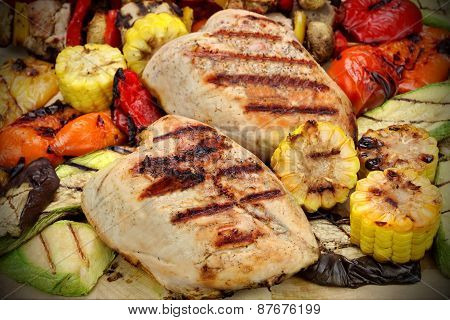 Grilled Chicken Meat And Vegetables