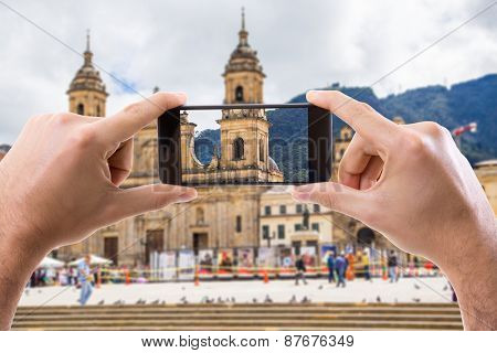 Hand holding Smartphone in Bogota, Colombia