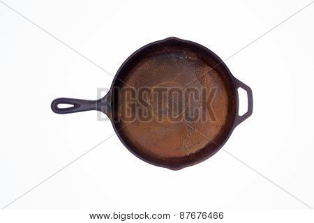 Old Rusty Round Cast Iron Frying Pan