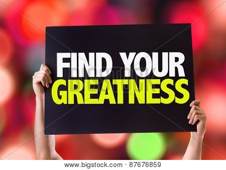 Find Your Greatness card with bokeh background
