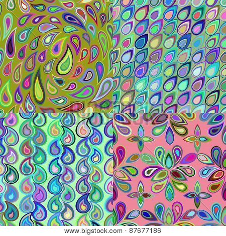 Abstract Colorful Seamless Pattern Created From Elements Teardrop Shape.
