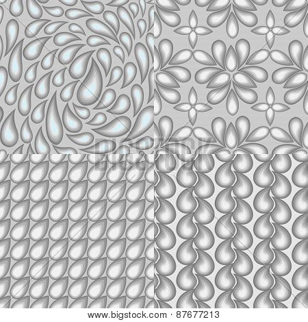 Set Of Four Abstract Seamless Patterns Which Reflect The Theme Of Water Elements.the Illustrations A
