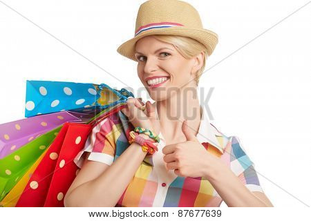 Woman and successful summer shopping