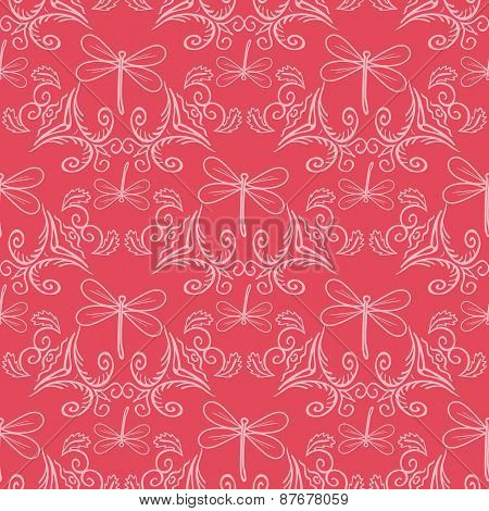 Seamless Pattern With Ornament And Dragonflies