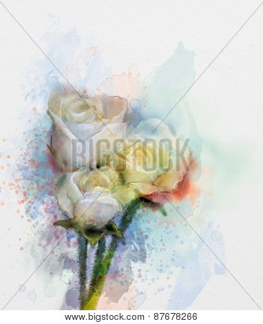 Flowers painting. White roses floral in pastel color