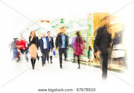 Business people moving blur.
