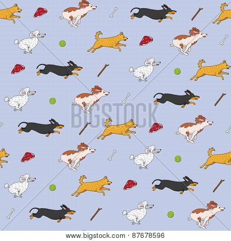 Funny dogs are running to their items seamless pattern