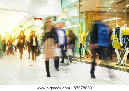 LONDON, UK - MARCH 31, 2015: Business people moving blur.