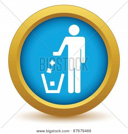 Gold throw garbage icon