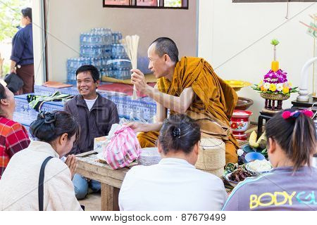 Buddhist Monk Is Blessing People