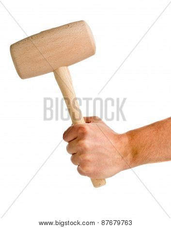Man Holding Woodne Mallet Isolated On White