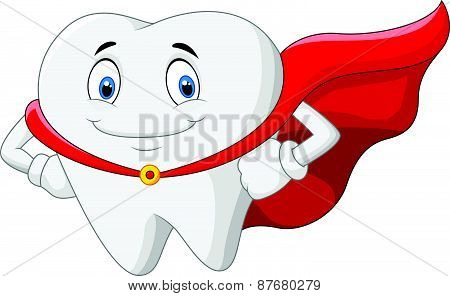 Happy cartoon superhero healthy tooth