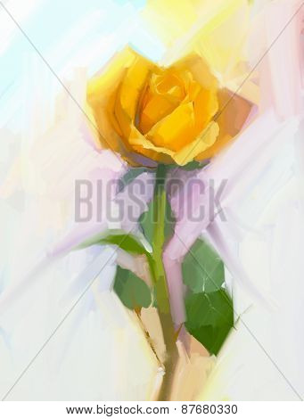Yellow rose flower with green leaf oil painting.