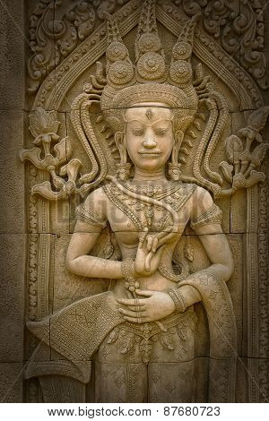 Apsara Sculptures At Angkor Wat,detail Of Stone Carvings