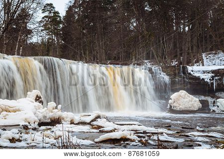 Estonian winter panorama waterfall