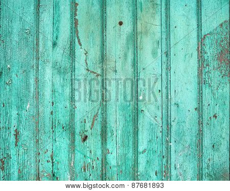 Old Rustic Painted Cracky Green (turqouise) Wooden Texture