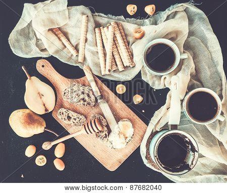 Breakfast - Coffee Break Set. A Pot -cezve- Of Coffee, Two Cups