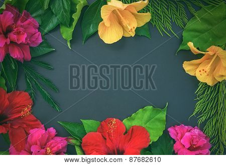 Frame Of Flowers, Hibiscuses, Dof Roses, And Green Leaves O