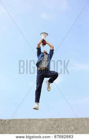 Man Jump And Shout Megaphone