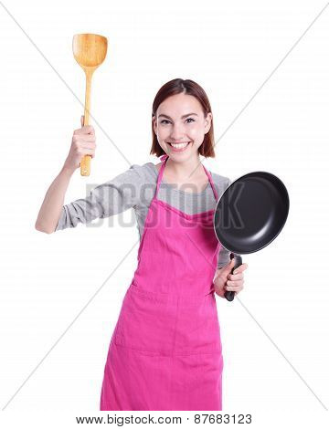 Happy Young Woman Housewife