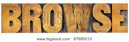 browse word typography - isolated text in letterpress wood type - internet concept