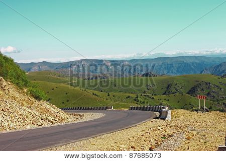 Mountain Highway And Landscape. North Caucasus Travel.