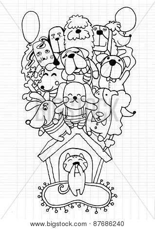 Hand Drawn Doodle Puppy Dog Background