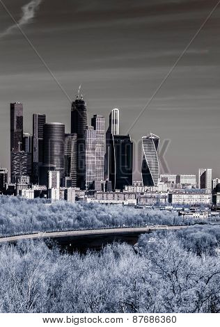 Picturesque View Of The Moscow City In Infrared