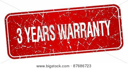 3 Years Warranty Red Square Grunge Textured Isolated Stamp