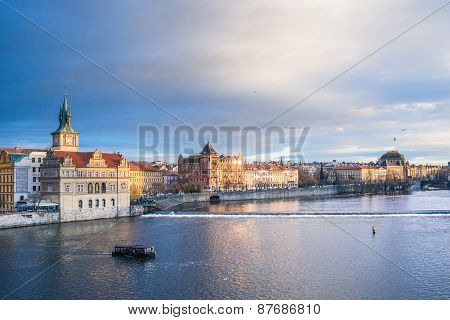 The View From The Charles Bridge Over The Vltava River, Smetana