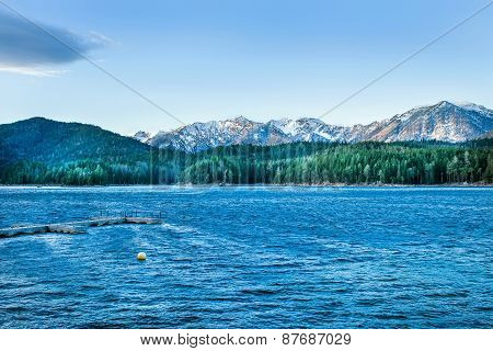 Eibsee Lake With The Backdrop Of The Alps And The Blue Sky. Bava