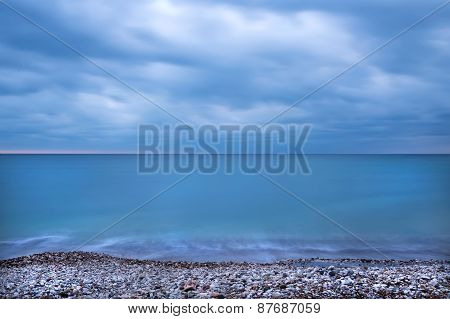 Montenegro Coast Of The Adriatic Sea Before The Storm At The Sun