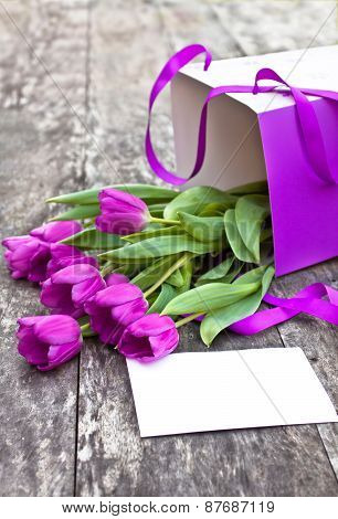 Bouquet Of Violet Tulips Pack A On The Oak Brawn Table