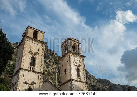 Tower With A Clock In The Old City Of Kotor, Montenegro