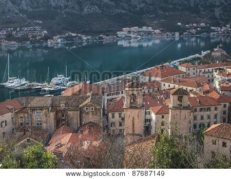 The View Over The Red Roofs And Yachts Of Kotor, Montenegro, Fro