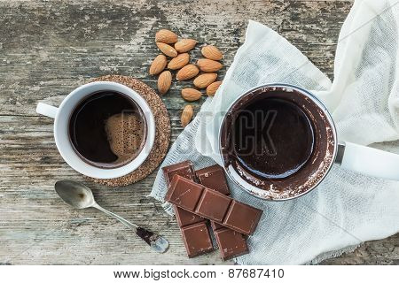 Coffee Set. Cezve - Coffee Pot, With Freshly Brewed Coffee, A Cup, Bar Of Chocolate